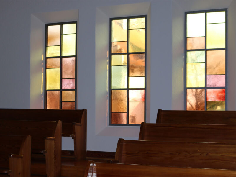 Kirche, muenchwilen, bunte Fenster, Farbkonzept