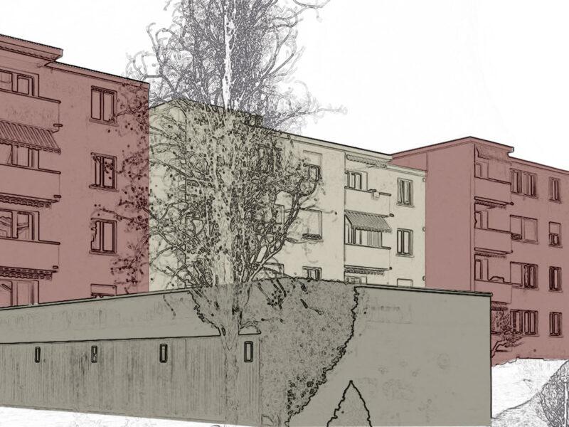 farbkonzept, Wohnüberbauung, Hinterberg, Fassaden